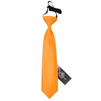 Fluorescent Orange Plain Satin Elasticated Tie for Boys