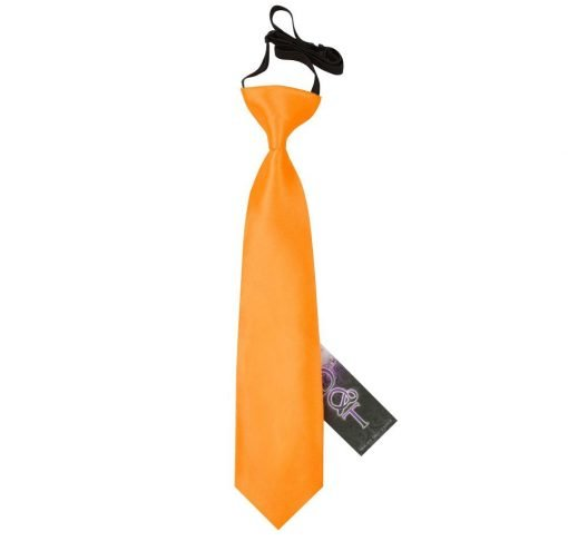 Fluorescent Orange Plain Satin Elasticated Tie for Boys