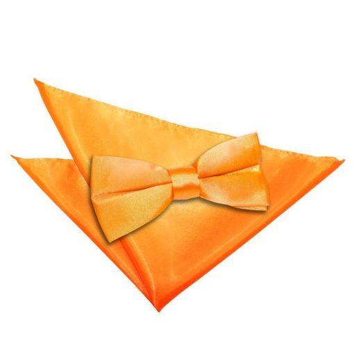 Fluorescent Orange Plain Satin Bow Tie & Pocket Square Set