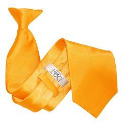 Fluorescent Orange Plain Satin Clip On Tie
