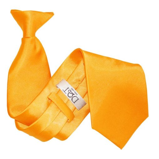 Fluorescent Orange Plain Satin Clip On Tie