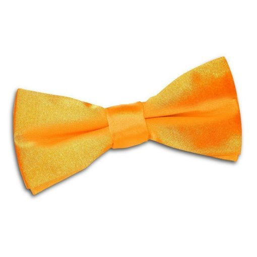 Fluorescent Orange Plain Satin Pre-Tied Bow Tie for Boys