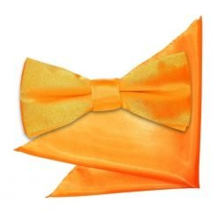 Fluorescent Orange Plain Satin Bow Tie & Pocket Square Set for Boys