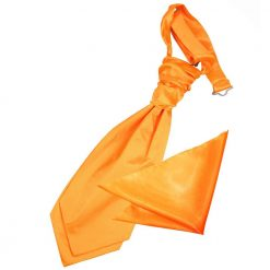 Fluorescent Orange Plain Satin Wedding Cravat & Pocket Square Set for Boys