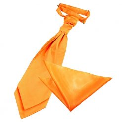 Fluorescent Orange Plain Satin Wedding Cravat & Pocket Square Set