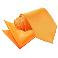 Fluorescent Orange Plain Satin Tie & Pocket Square Set