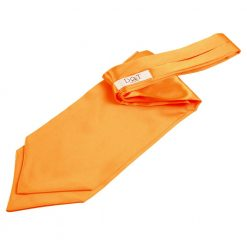Fluorescent Orange Plain Satin Self-Tie Wedding Cravat