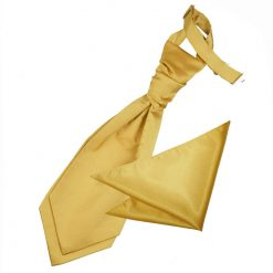 Gold Plain Satin Wedding Cravat & Pocket Square Set for Boys