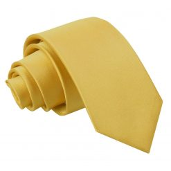 Gold Plain Satin Regular Tie for Boys