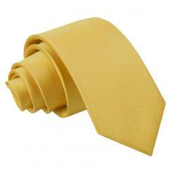 Gold Plain Satin Regular Tie for Boys