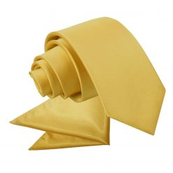 Gold Plain Satin Tie & Pocket Square Set for Boys