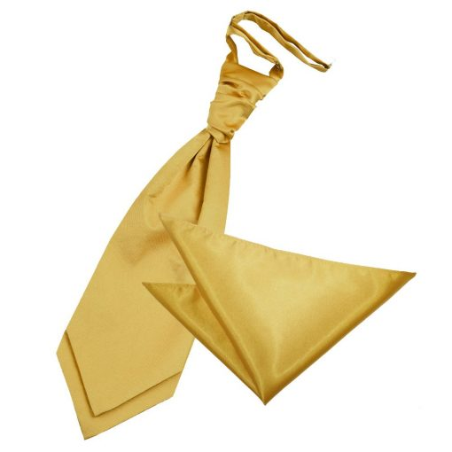 Gold Plain Satin Wedding Cravat & Pocket Square Set