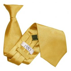 Gold Plain Satin Clip On Tie