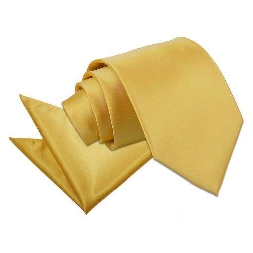 Gold Plain Satin Tie & Pocket Square Set