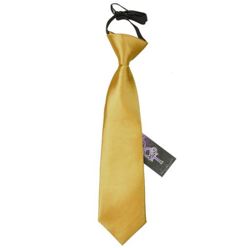 Gold Plain Satin Elasticated Tie for Boys