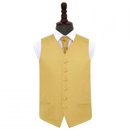 Gold Plain Satin Wedding Waistcoat & Cravat Set