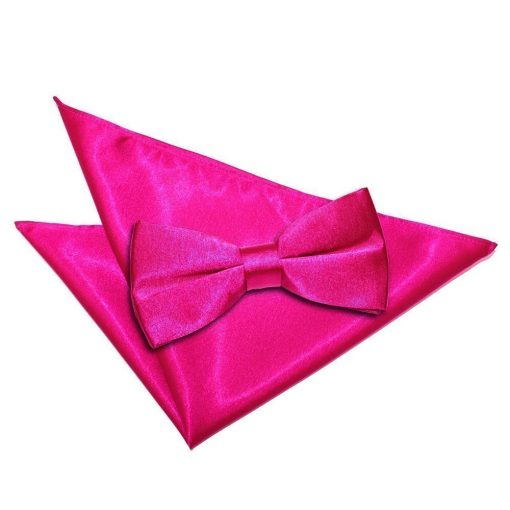 Hot Pink Plain Satin Bow Tie & Pocket Square Set