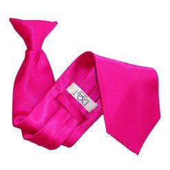 Hot Pink Plain Satin Clip On Tie