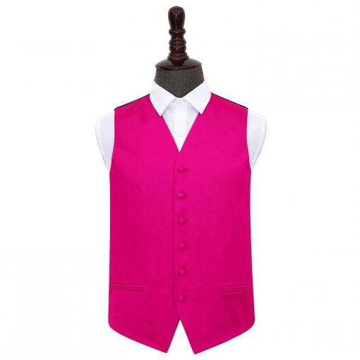 Hot Pink Plain Satin Wedding Waistcoat