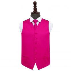 Hot Pink Plain Satin Wedding Waistcoat & Tie Set