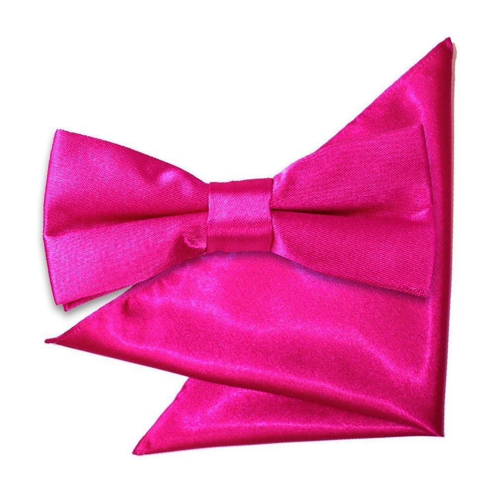 c2607b27e54ea Hot Pink Plain Satin Bow Tie & Pocket Square Set for Boys