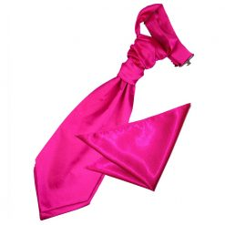 Hot Pink Plain Satin Wedding Cravat & Pocket Square Set for Boys