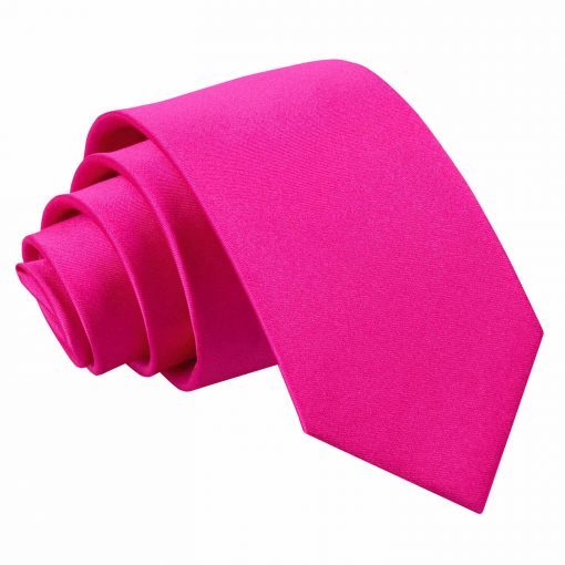 Hot Pink Plain Satin Regular Tie for Boys