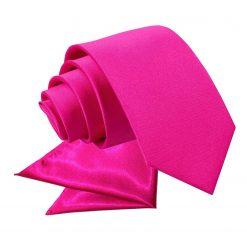 Hot Pink Plain Satin Tie & Pocket Square Set for Boys