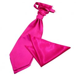 Hot Pink Plain Satin Wedding Cravat & Pocket Square Set