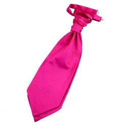 Hot Pink Plain Satin Pre-Tied Wedding Cravat