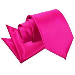 Hot Pink Plain Satin Tie & Pocket Square Set