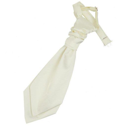 Ivory Plain Satin Pre-Tied Wedding Cravat for Boys