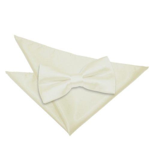 Ivory Plain Satin Bow Tie & Pocket Square Set