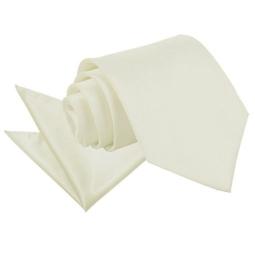 Ivory Plain Satin Tie & Pocket Square Set