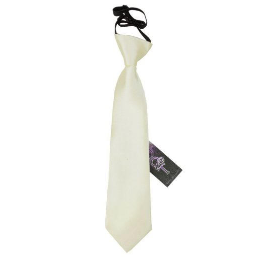 Ivory Plain Satin Elasticated Tie for Boys