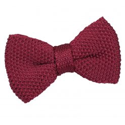 Burgundy Knitted Pre-Tied Bow Tie for Boys