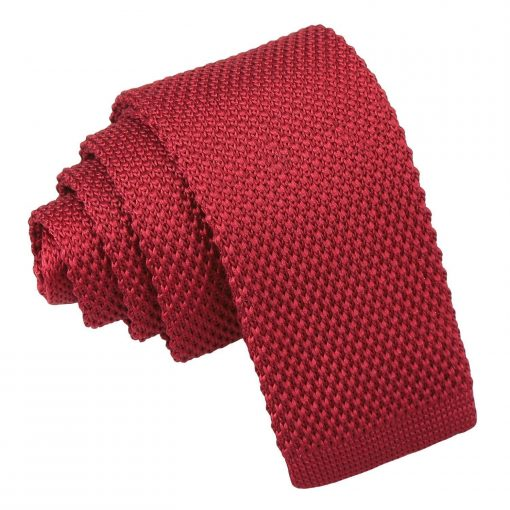 Burgundy Knitted Tie for Boys