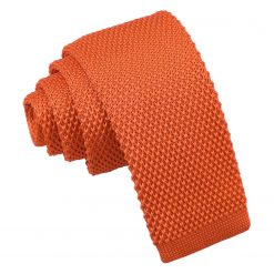 Burnt Orange Knitted Tie for Boys