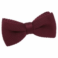 Cabernet Red Knit Knitted Pre-Tied Bow Tie