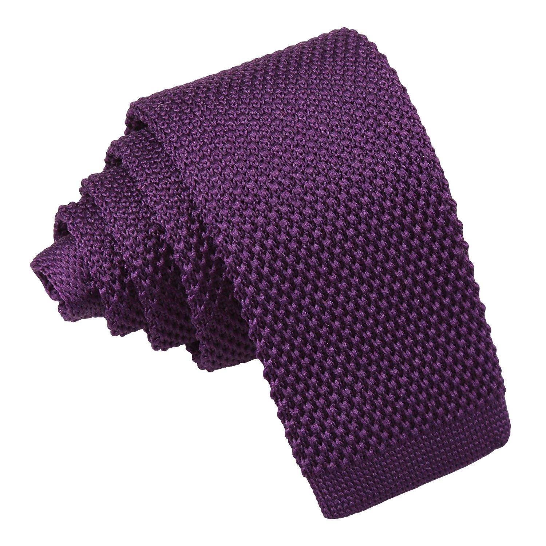 DQT Woven Plain Solid Check Cadbury Purple Formal Casual Mens Slim Tie