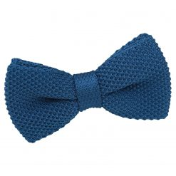 Cerulean Blue Knit Knitted Pre-Tied Bow Tie