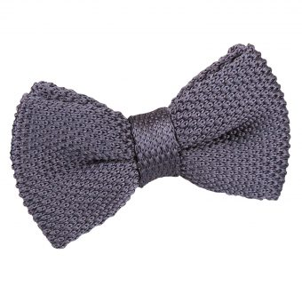Charcoal Knitted Pre-Tied Bow Tie for Boys