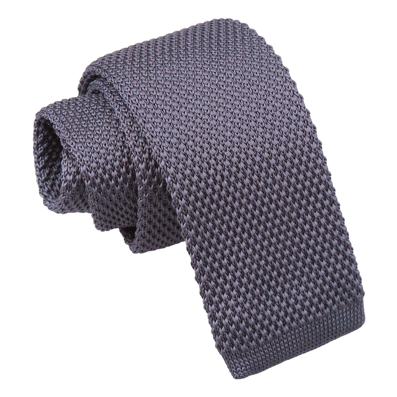 173104132417 Charcoal Knitted Tie for Boys