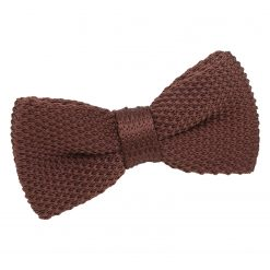 Chocolate Brown Knitted Pre-Tied Bow Tie for Boys