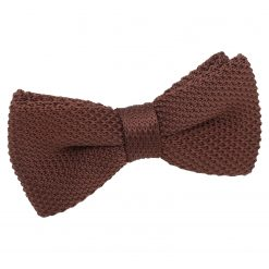 Chocolate Brown Knit Knitted Pre-Tied Bow Tie