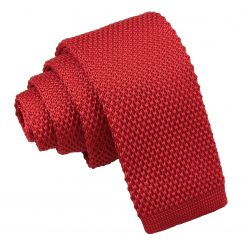 Crimson Red Knitted Tie for Boys