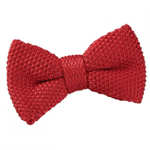 Crimson Red Knitted Pre-Tied Bow Tie for Boys