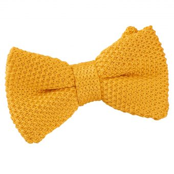 Marigold Yellow Knitted Pre-Tied Bow Tie for Boys