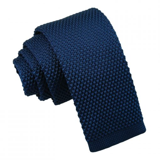 Navy Blue Knitted Tie for Boys
