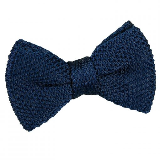 Navy Blue Knitted Pre-Tied Bow Tie for Boys